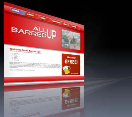 The All Barred Up website, mobile bar hire across Wales, The Midlands and The South West